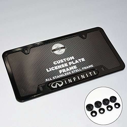 - US85 Black Stainless Steel Front Rear For Infiniti License Plate Frame Cover Gift