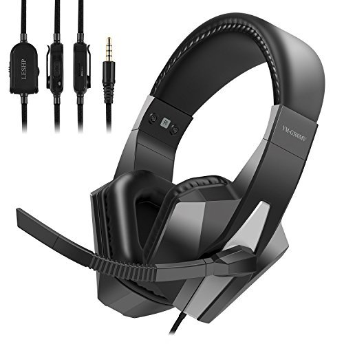 Adjustable Gaming Headset Headphone Earphone, 3.5mm Stereo Jack with Mic Monitor and Volume Controller, Professional Over Ear Playstation 4 Games and PC Games Headphone for Xbox 1 X, Windows PC, Mac