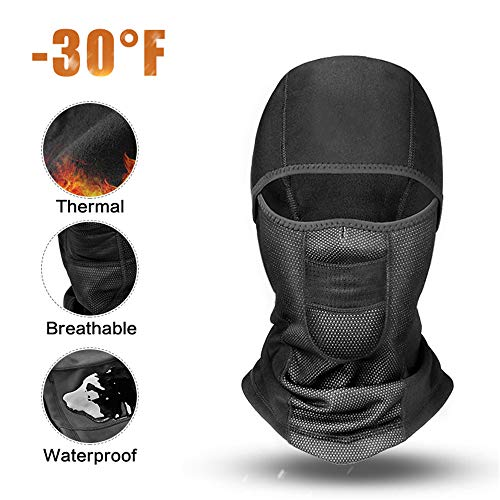 Balaclava Face Mask Waterproof Windproof Ski Winter Motorcycle Neck Warmer for Skiing, Cycling, Running, Fishing, Outdoor Sports (Black-Basic Style, Medium(Head Circumference: 53-58cm)(Adult))