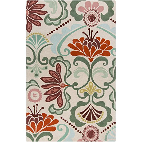 Surya Kate Spain Alhambra ALH-5018 Hand Tufted 100-Percent New Zealand Wool Floral and Paisley Area Rug, 8-Feet by 11-Feet by Surya