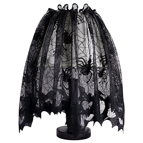 Aytai 18 x 60 Inch Halloween Black Lace Lamp Shade Cover with Ribbon, 3 in 1 Black Spider Lamp Shade Covers for Halloween Decorations (Lampshade Halloween Topper)