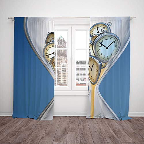 Neon Raiders Clock Oakland - SCOCICI Thermal Insulated Blackout Window Curtain [ Clock Decor,Hourglass Time Clocks Sand Decorations Home A Vintage Design,Blue Sand Brown] Bedroom Living Room Dorm Kitchen Cafe