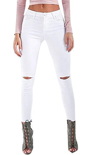 Women Casual Ripped Holes Stretch Skinny Jeans Jeggings Straight Fit Denim Pants