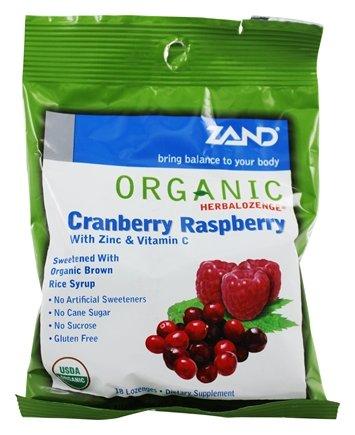 Zand - Herbalozenge Organic Cranberry Raspberry with Zinc & Vitamin C Cranberry Raspberry Flavor - 18 Lozenges.pack of 3 by Zand