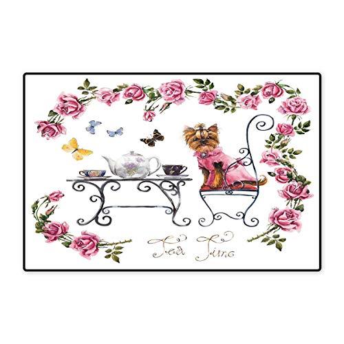Yorkie Door Mats for Home Yorkshire Terrier in Pink Dress Having a Tea Party Tea Time Butterflies Roses Bath Mat for Bathroom Mat 16