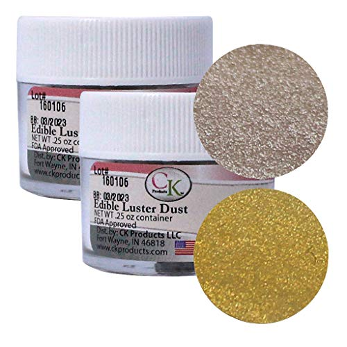 (Edible Luster Dust Shiny Gold/Shiny Silver - 2 Pack)