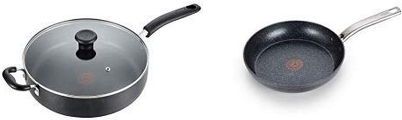 T-fal B36290 Specialty Nonstick 5 Qt. Jumbo Cooker Sauté Pan with Glass Lid, Black AND T-fal G10405 Heatmaster Nonstick Thermo-Spot Heat Indicator Fry Pan Cookware, 10-Inch, Black - As Seen on TV