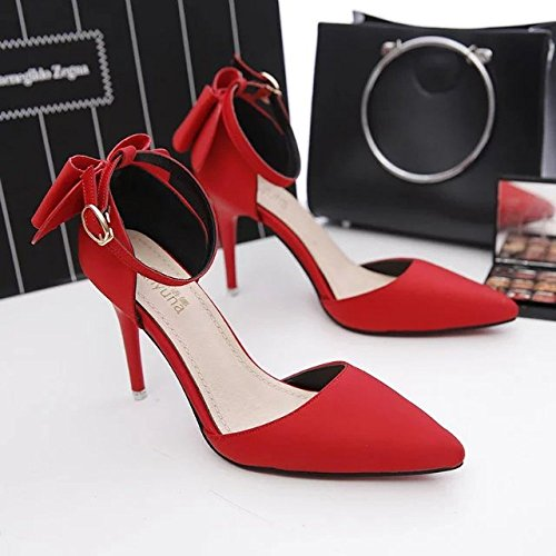 RENHONG Lady's High Talons Stiletto Bout Pointu Noeud Ruban Satin Strap Chaussures De Mariage Sexy (Rouge Gris Or Noir) Red 4HYWms439J