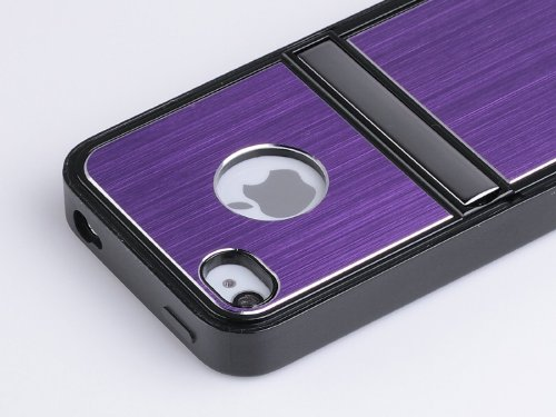 SODIAL(R) Purple Aluminum TPU Hard Case Cover With Chrome Stand For iPhone 4 4G 4S+Screen protector+Stylus (Fits Verizon AT&T Sprint iPhone 4 4s)