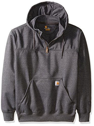 Carhartt Heavyweight Hooded Zip Sweatshirt - Carhartt Men's Big & Tall Rain Defender Paxton Heavy Weight Hooded Zip Mock Sweatshirt, Carbon Heather, 2X-Large/Tall