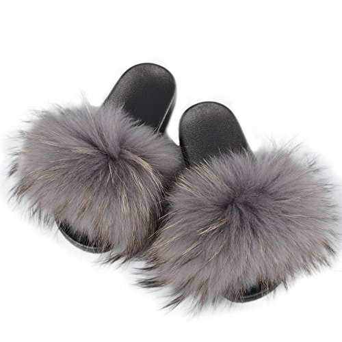 Jancoco Max Womens Luxury Real Raccon Fur Slippers Slides Indoor Outdoor Flat Soles Soft Summer Shoes