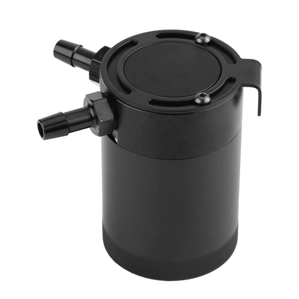 Gas Can - - Universal Two-Hole Aluminum Car Engine Oil Reservoir Catch Can Breather Tank Kit Black