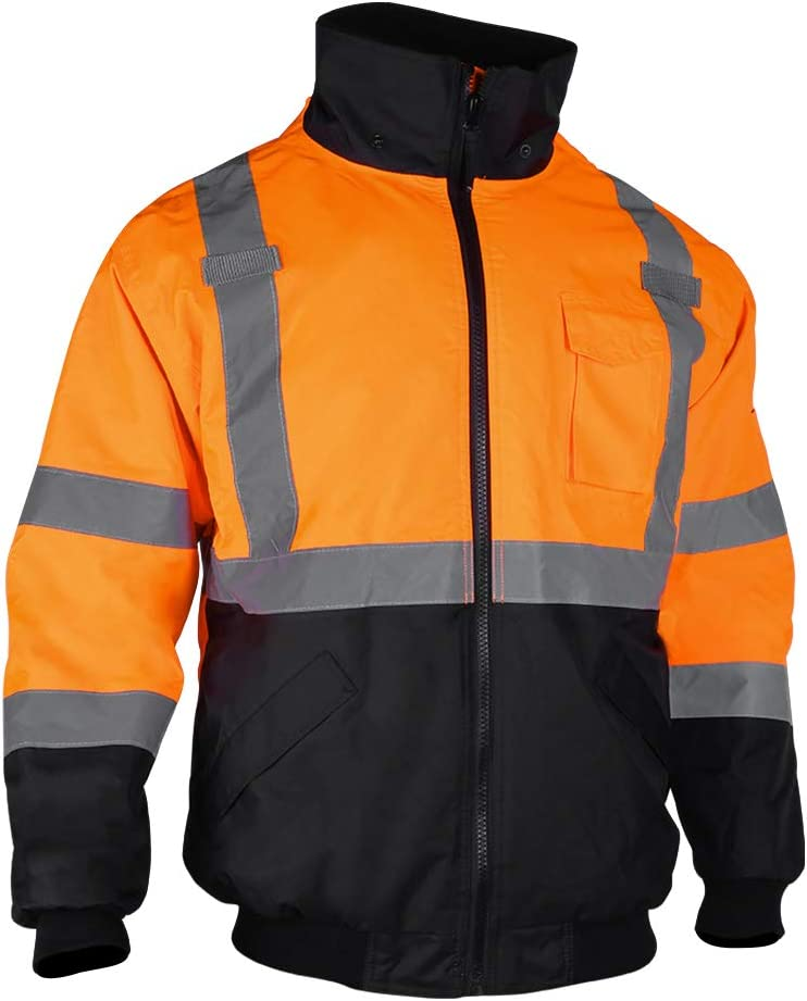 Men's ANSI Class 3 Hi Vis Safety Bomber Jacket Concealed Hood Waterproof Full Zip Padding Work Jacket Black Bottom(3XL, Orange): Home Improvement