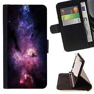 Devil Case- Estilo PU billetera de cuero del soporte del tir¨®n [solapa de cierre] Cubierta FOR Apple iPhone 6 6S 4.7 - Space Night Nebula
