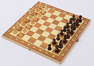15 Inch Wooden Chess Set Board Game Family with Folding Board Interior for Storage and Fine Wood Classic Handmade Standard Chess pieces Hand Carved Gift Kids Toy by GZNIGHT