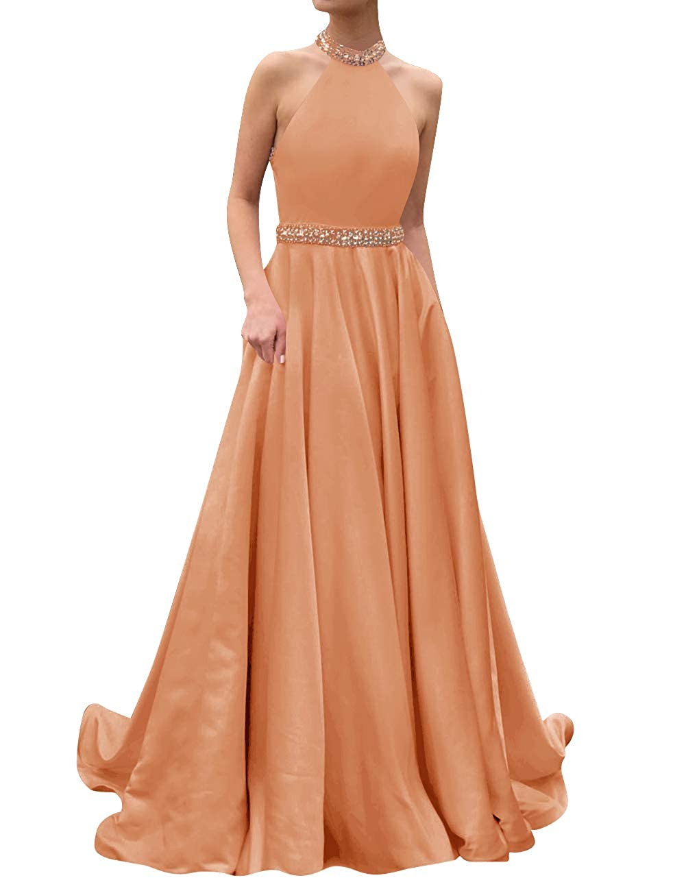 Coral ASBridal Prom Dresses Long Evening Gowns Halter Beaded Party Prom Gowns Bridesmaid Dress Open Back