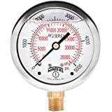 """Winters PFQ Series Stainless Steel 304 Dual Scale Liquid Filled Pressure Gauge with Brass Internals, 0-5000 psi/kpa,2-1/2"""" Dial Display, +/-1.5% Accuracy, 1/4"""" NPT Bottom Mount"""