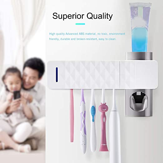 sterilizzatore UV per spazzolino Nuovo sterilizzatore per spazzolino da Denti Bambini Staffa di stoccaggio per Bagno spazzolino Automatico da Parete UV Antibatterico TiooDre Portaspazzolino
