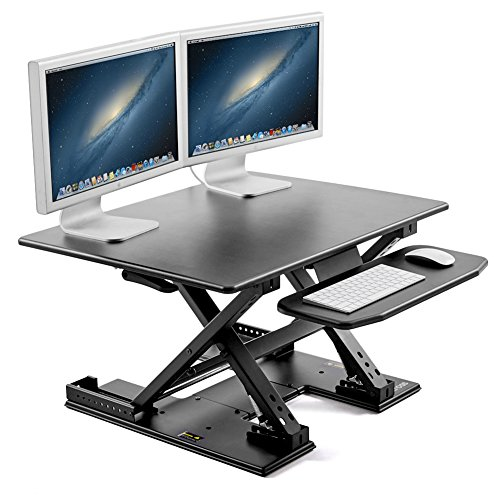 31-inch Wide Standing Desk, iKross 6-Height Adjustable Computer Workstation Desk Converter 2-Tier Gas Spring Sit to Stand Up Desk Riser with Removable Keyboard Tray Platform Converter - Black