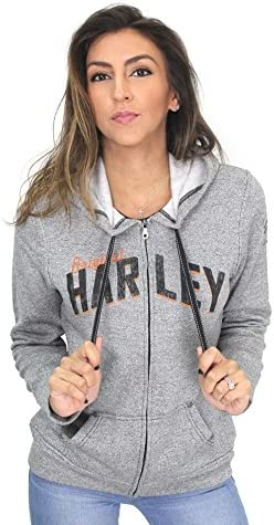 Harley-Davidson Womens Loud Wing Mock Twist Fleece Full cierre de cremallera Gris sudadera con capucha