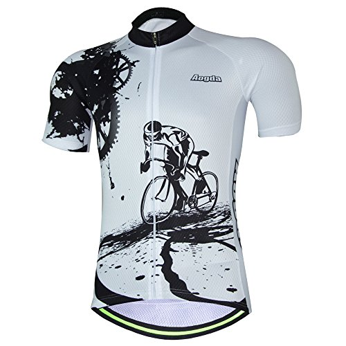 Aogda Cycling Jerseys Men Bike Shirts Breathable Short Sleeves Tights Suit Biking Bib Shorts Bicycle Jacket And Pants (White Jerseys, 2XL) - Kings White Jersey