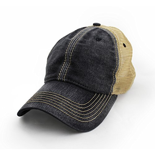 Blank Trucker Hat, Vintage Salt-Wash, Black