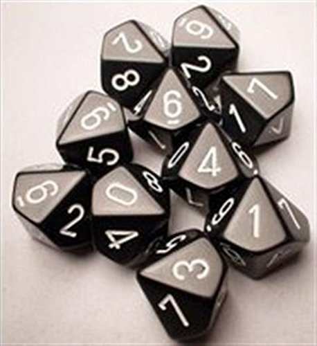 - Chessex Dice Sets: Opaque Black with White - Ten Sided Die d10 Set (10)