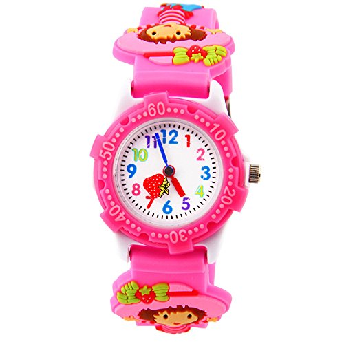 Eleoption Waterproof 3D Cute Cartoon Digital Silicone Wristwatches Time Teacher Gift for Little Girls Boy Kids Children (Pink Hellokitty) -