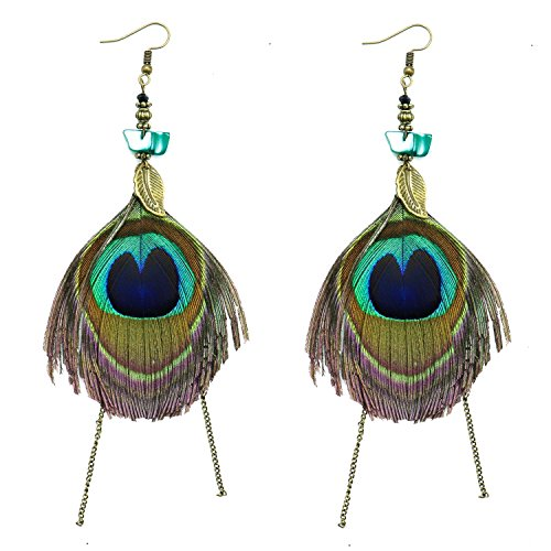 Natural Peacock Feather Earrings - HUELE 1 Pair Earrings Vintage Bohemian Peacock Feather Earrings for Women/Girl