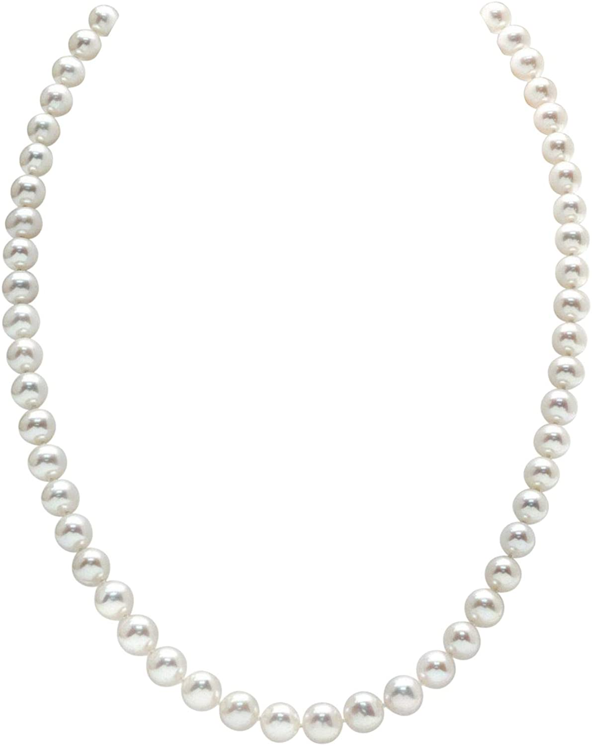 """7-8mm Round White Freshwater Cultured Pearl Necklace, 20"""" Matinee Length - AAA Quality"""