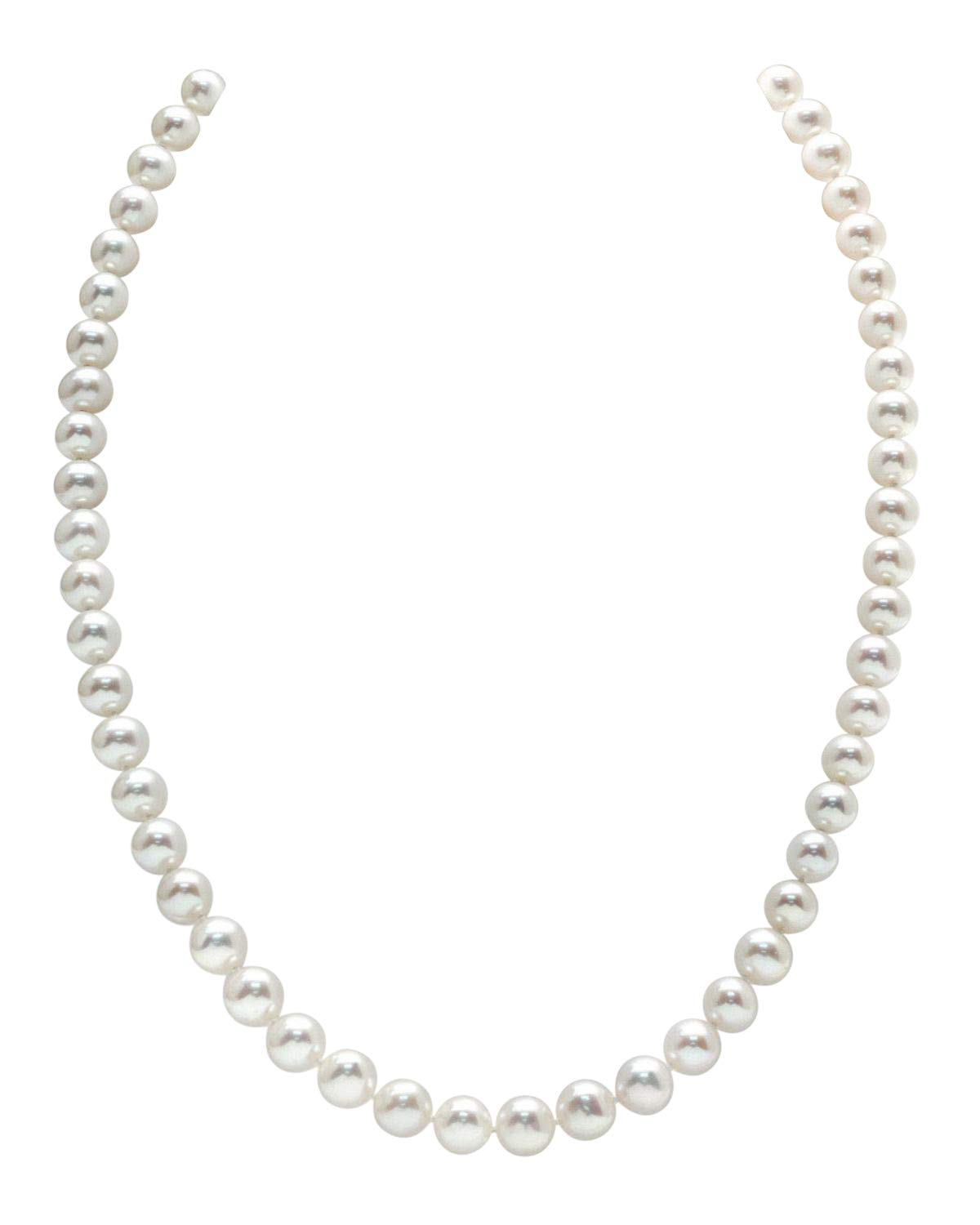 7-8mm Round White Freshwater Cultured Pearl Necklace, 20'' Matinee Length - AAA Quality by The Pearl Source