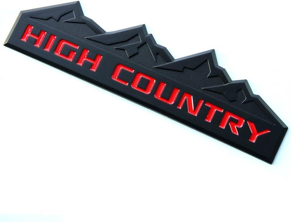 Yoaoo 2x GENUINE BlacK HIGH COUNTRY Emblem Badges door tailgate 3D Nameplate for Silverado 1500 2500HD Sierra 3500HD OEM Red
