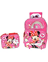 Minnie Mouse Sparkle Girls 16 inches Large Rolling Backpack & Lunch Box for School