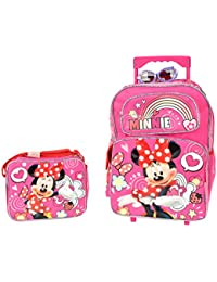 """Minnie Mouse Sparkle Girls 16"""" inches Large Rolling Backpack & Lunch Box for School"""