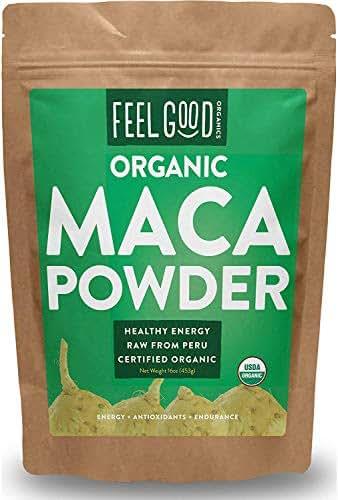 Organic Peruvian Maca Root Powder - Perfect for Smoothies, Baking, Energy - Raw From Peru - Non-GMO, USDA Organic - 16oz Resealable Bag (1 Pound) - by Feel Good Organics