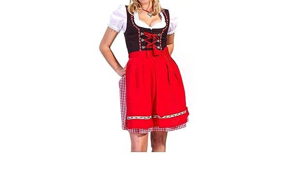 3-teiliges Dirndl vestido rojo étnico 3 piezas Oktoberfest bávaro ...