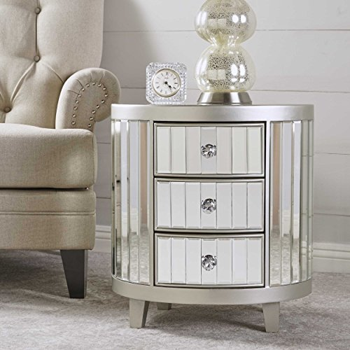 Frankel Mirrored Cabinet with Champagne Silver Hardwood Accents by GDF Studio