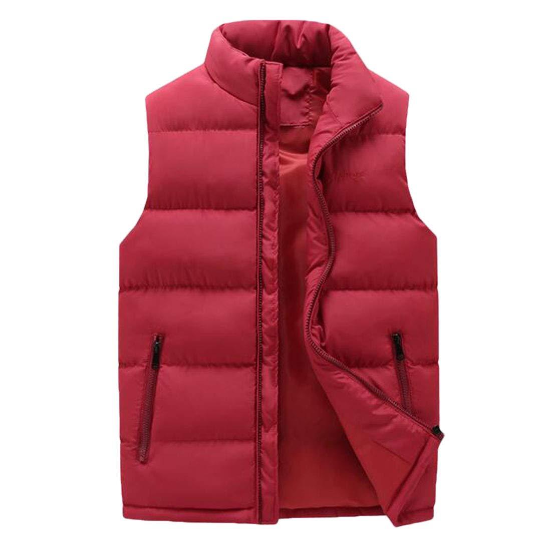 Ueioc Men Winter Stand Collar Quilted Sleeveless Puffer Down Vest