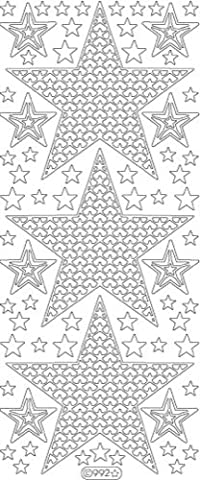 Large Stars deco stickers-silver