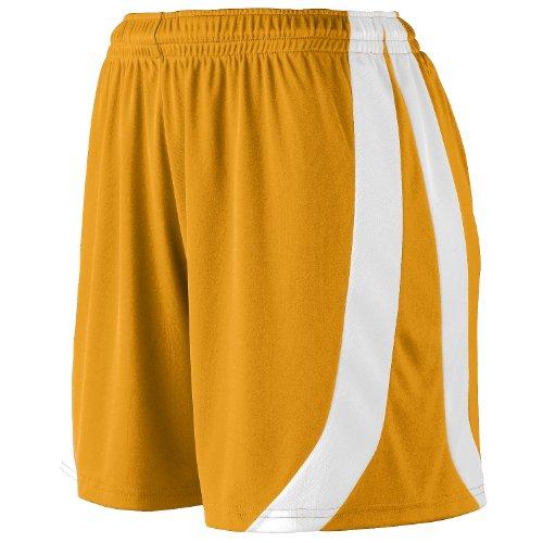 Augusta Sportswear Big Girl's Triumph Short, GOLD/WHITE, Small by Augusta Sportswear