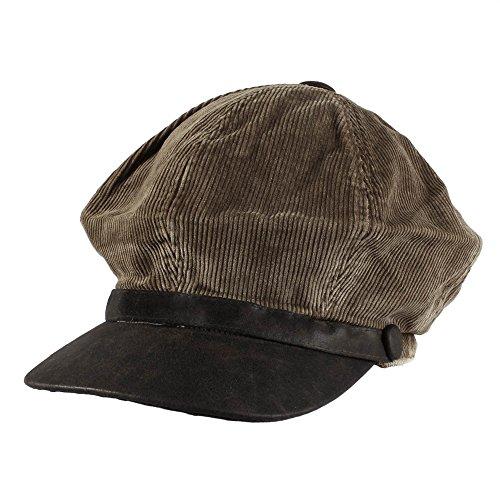 Morehats Men's Women's Unisex 100% Cotton Corduroy Slouchy Newsboy Cap Gatsby Hat - Chocolate/Leather