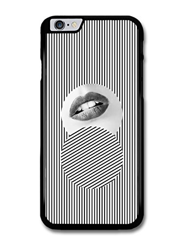 Arty Minimalist Black and White Stripes with Fashion Model Lips coque pour iPhone 6 Plus 6S Plus