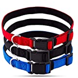 Pets Lovers Club Premium Dog Collar - Collar para Perros - Pack of 3 Colors Red, Blue, Black - Fits Medium Dogs - 1 Inch Wide Collar