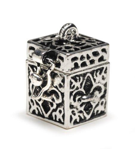 Darice BG2029 Fleur De Lis Shaped Prayer Box Charm, Antique (Shaped Prayer Box)