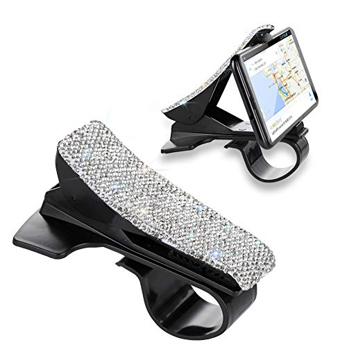 (SAVORI Cell Phone Holder for Car, Bling Bling Rhinestones Crystal Dashboard Car Clip Mounts for iPhone, Non-Slip GPS Holder Car Cradles for Galaxy and 5-7 inch Smartphone or GPS Devices (White))