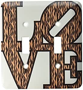 3dRose lsp_39689_2 Double Toggle Switch with Love in Vertical Tiger Stripes