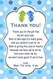 30 Thank You Cards Notes Twin Boys Dragon Birthday Baby Shower Personalized Cards + 30 White Envelopes