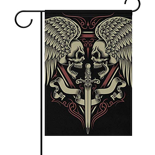 (12 x 18 Inches Double Sides,Two Faced Skull with Wings and Sword Festival Garden Flag Happy Halloween Colorful Flag Decoration House Yard Flag Outdoor Durable Seasonal)