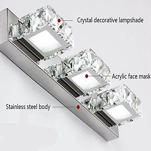 JIN Luxury Fashion LED K9 Crystal Mirror Lamp Bathroom Bedroom Bathroom Mirror Stainless Steel Lamp , D , 3 Heads by DSGVFDSG (Image #2)