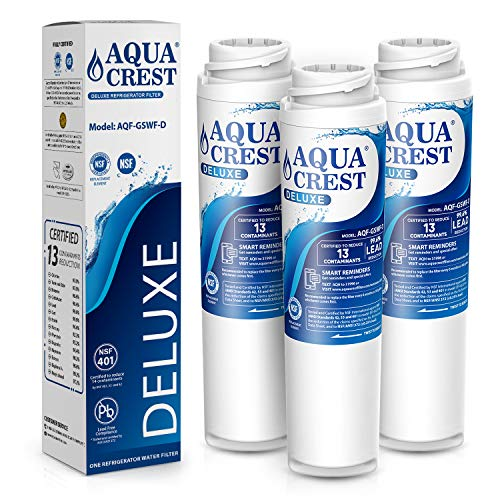 AQUACREST GSWF NSF 401,53&42 Certified GSWF Refrigerator Water Filter, Compatible with GE GSWF SmartWater 238C2334P001, Kenmore 46-9914, 469914, 9914 (Pack of 3, Packing May Vary)